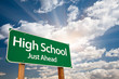 High School Green Road Sign Over Clouds