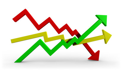 Courbes symbole de variations économique