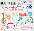 music hand-drawn icons
