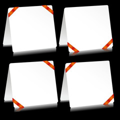 Set of sheets of paper as note pads with  red strips