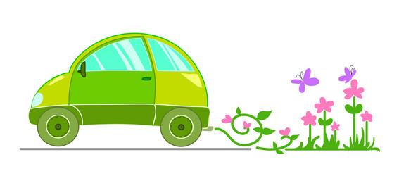 Automobile ecologica con fiori