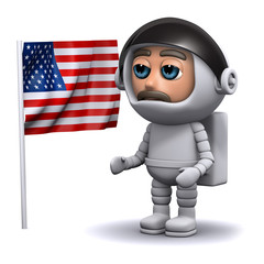 3d Astronaut and US flag