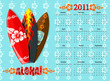 Vector blue Aloha calendar 2011 with surf boards