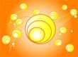Summer orange background, vector