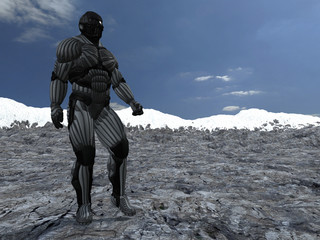 science fictional character in a strange and hostile world. 3D r