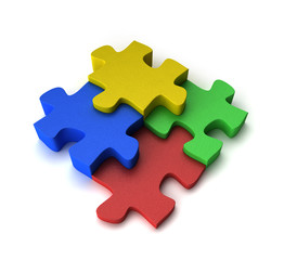 Four puzzle pieces interconnected with each other over white