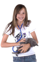 jeune adolescente qui soigne son chaton gris
