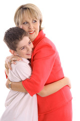 Woman hugging boy
