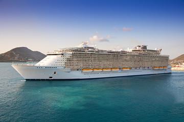 Cruise Ship departs from St. Maarten, Caribbean