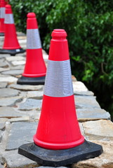 Traffic cones on the board of road