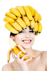 bananas on head