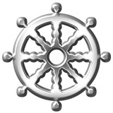 3D Silver Buddhism Symbol Wheel of Dharma poster