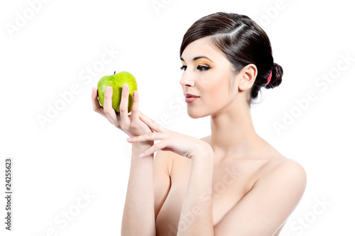 holding apple