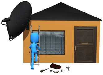 3d blue character antena