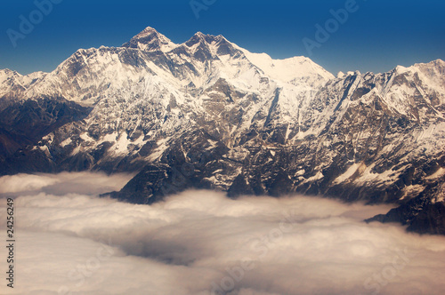 Panoramic view of Himalayas and Mount Everest