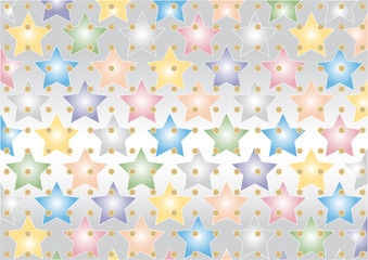 Colored  star on silvery background. Wallpaper.