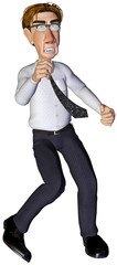 3d businessman angry