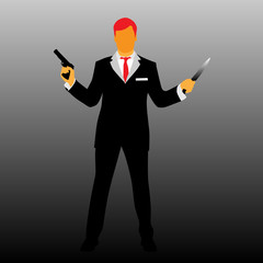 man with a gun and knife silhouette vector