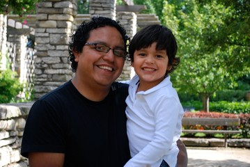 Handsome Hispanic father and son