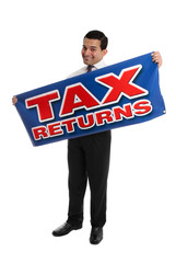 Smiling Accountant or Businessman with sign