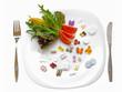 Leinwandbild Motiv Food Supplements vs Healthy Diet