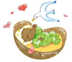 Neonato di colore che dorme