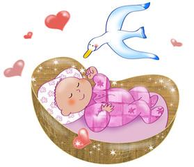 Neonata che dorme nella culla