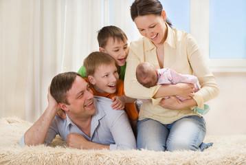 Happy parents of children together
