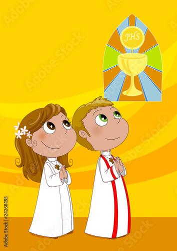 Illustrazione  Bambini Alla Prima Comunione