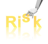 Robotic hand and word risk poster