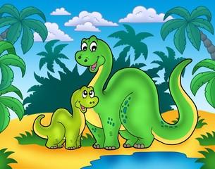 Dinosaur family in landscape