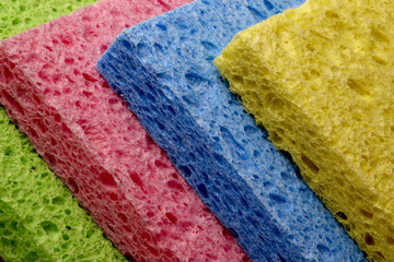 Colorful sponges leaning