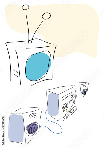 TV and audio system old style. Vector illustration.