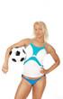 Female player holding ball