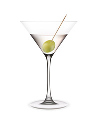 Cocktail with olive. Vector illustration.