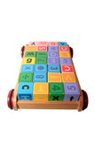 childrens play letter blocks in toy cart