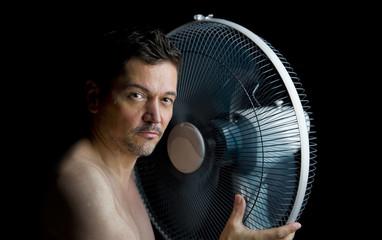 man with fan