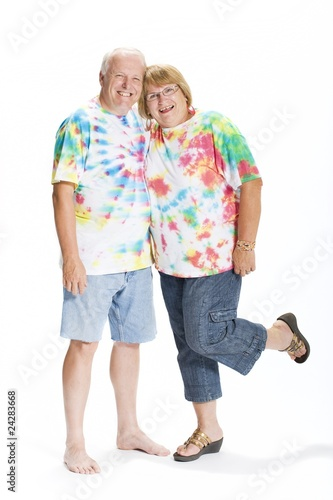 Couple Dressed In 1970's Clothing
