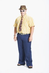Man Dressed In 1970's Clothes