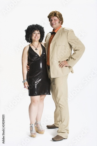 Couple Dressed In 1970's Clothes