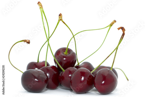 Cherries with green stem