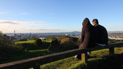 Viewing the city skyline from the hill