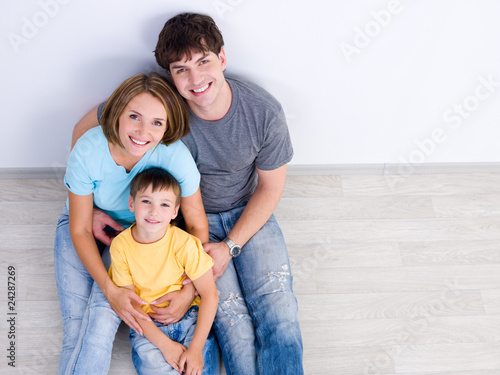 Happy family wih little boy - high-angle