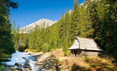 Small cottage in polish Tatra mountains in Roztoka valley