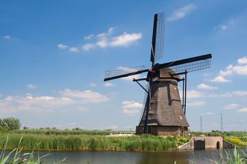 Traditional dutch windmill in Kinderdijk