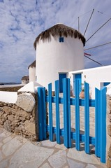 Famous old windmill on the tourist island of Mykonos Greece