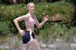 Beautiful Blonde Jogging Outdoors (2)