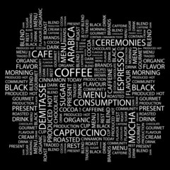 COFFEE. Word collage on black background.