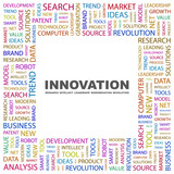 INNOVATION. Collage with association terms on white background. poster