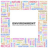 ENVIRONMENT. Collage with association terms on white background. poster